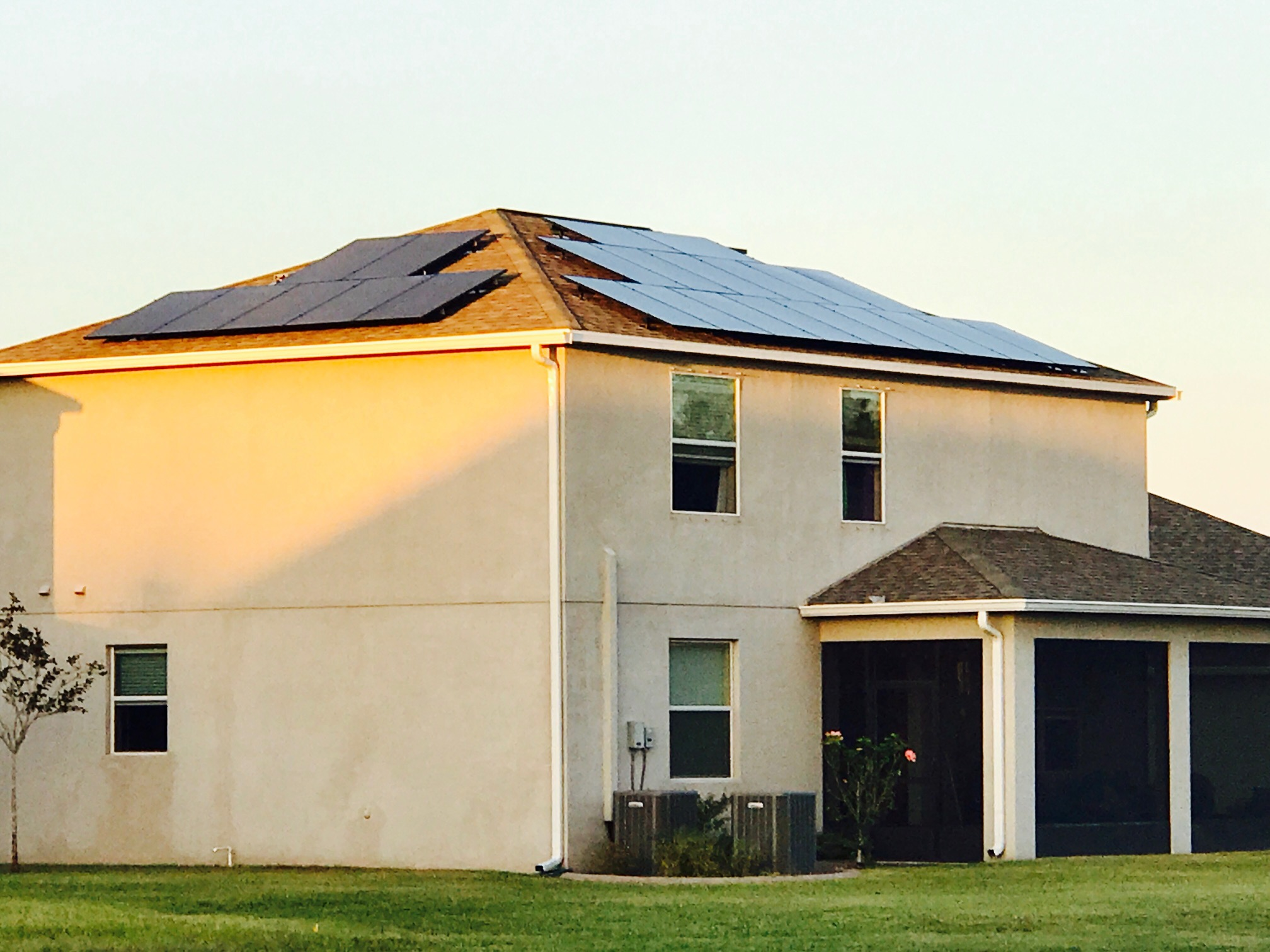 solar panels on two story roof