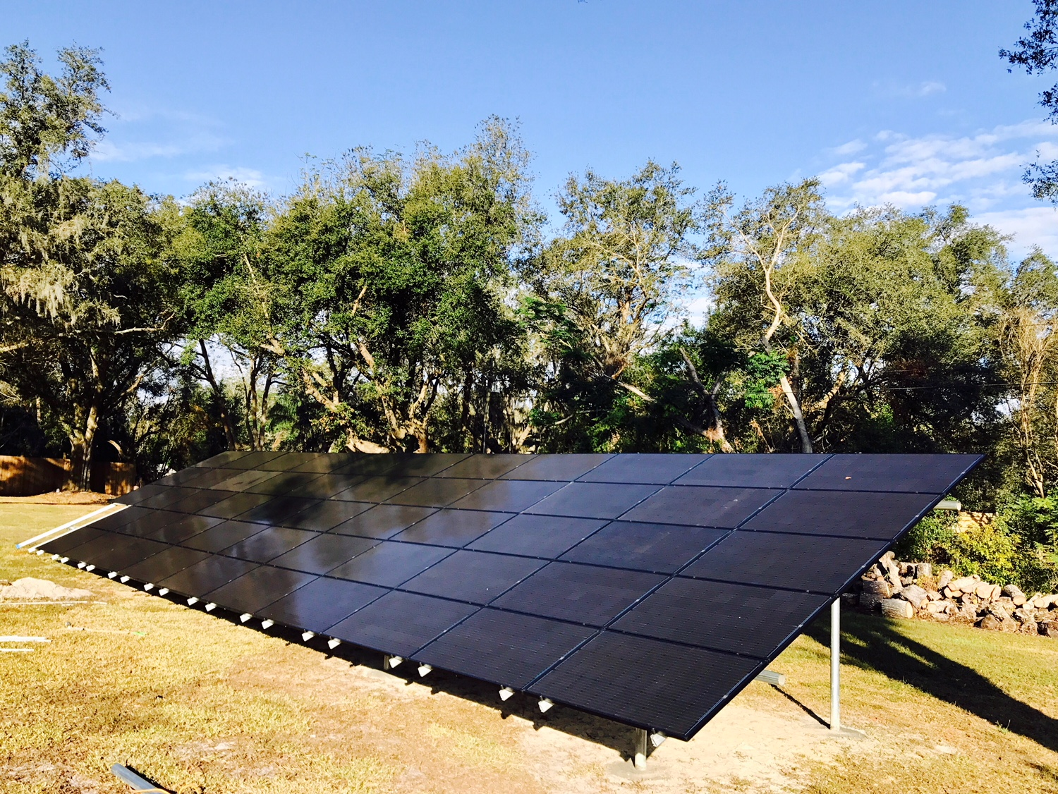 Solar array on ground stilts